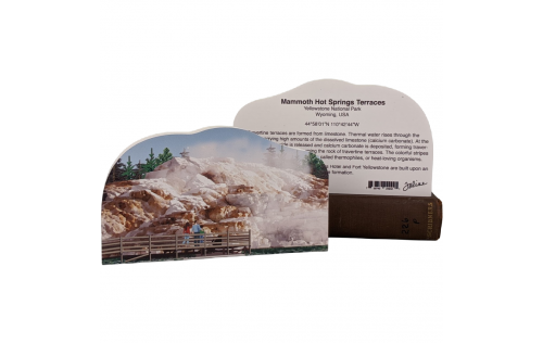 """Front & Back of  Mammoth Hot Springs in Yellowstone National Park. Handcrafted in 3/4"""" thick wood."""