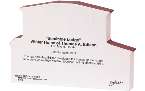 Back of Seminole Lodge, Winter Home of Thomas A. Edison, Fort Myers, Florida handcrafted in wood by The Cat's Meow Village
