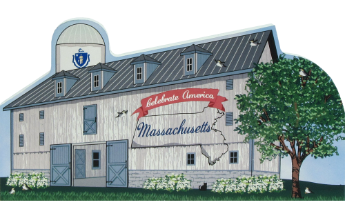 Massachusetts State Barn with state flag and other state facts represented on the front. The Bay State.