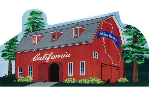 California State Barn representing facts about the state. The Golden State.