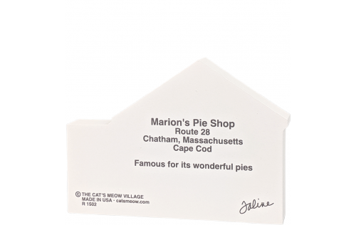 "Back description of Replica of Marion's Pie Shop on Cape Cod. Handcrafted in 3/4"" wood by The Cat's Meow Village in the USA."
