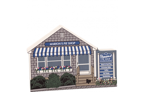 "Replica of Marion's Pie Shop on Cape Cod. Handcrafted in 3/4"" wood by The Cat's Meow Village in the USA."