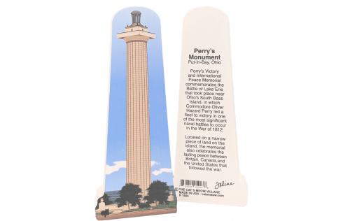 """Front & Back of Perry's Monument, National Park, Put-In-Bay, Ohio. Handcrafted in the USA 3/4"""" thick wood by Cat's Meow Village."""