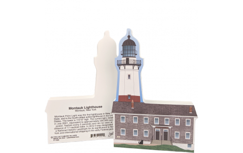 "Front & Back of Montauk Lighthouse, Montauk, New York. Handcrafted in the USA 3/4"" thick wood by Cat's Meow Village."