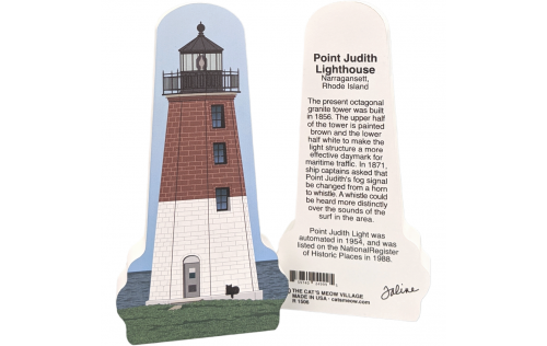 """Front & Back of  Point Judith LIghthouse, Narragansett, Rhode Island.  Handcrafted in the USA 3/4"""" thick wood by Cat's Meow Village."""