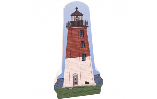 """Colorful replica of Point Judith LIghthouse, Narragansett, Rhode Island.  Handcrafted in the USA 3/4"""" thick wood by Cat's Meow Village."""