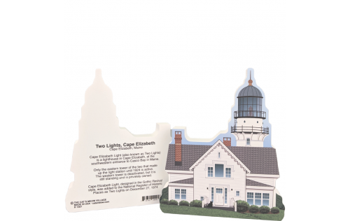 Front & Back of Two Lights - Cape Elizabeth Light, Maine.  Handcrafted in Wooster, Ohio by Cat's Meow Village.