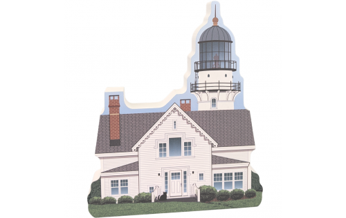 Lovely detailed replica of Two Lights - Cape Elizabeth Light, Maine.  Handcrafted in Wooster, Ohio by Cat's Meow Village.