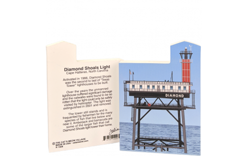 "Front & Back of Diamond Shoals Light, Cape Hatteras, North Carolina.  Handcrafted in the USA 3/4"" thick wood by Cat's Meow Village"