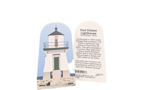 Front & Back of Port Clinton Lighthouse, Port Clinton, Ohio.  Handcrafted by Cat's Meow Village in Wooster, Ohio, USA.