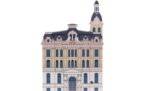 "Handcrafted 3/4"" thick wooden replica of the Wayne County Courthouse in Wooster, Ohio"