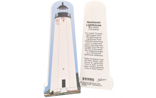 "Front & Back of New Haven Lighthouse, New Haven, Connecticut. Handcrafted in the USA 3/4"" thick wood by Cat's Meow Village"