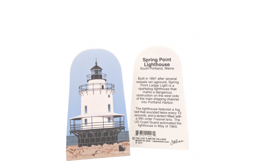 Front & Back of Spring Point Lighthouse, South Portland, Maine.  Handcrafted in the USA by Cat's Meow Village.