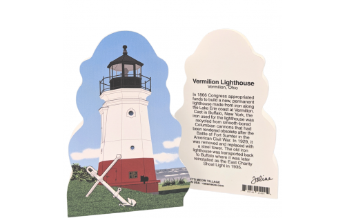 """Front & Back of the beautifully detailed replica of the Vermilion Lighthouse, Vermilion, Ohio.  Handcrafted in the USA 3/4"""" thick wood by Cat's Meow Village."""