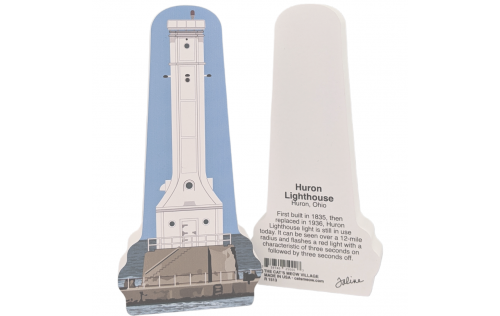 "Front & Back of a replica of Huron Lighthouse, Huron, Ohio.  Handcrafted in the USA 3/4"" thick wood by Cat's Meow Village."