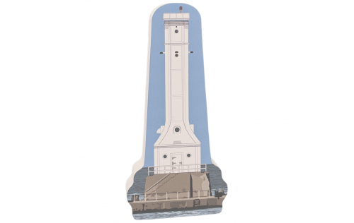 "Enjoy this keepsake replica of Huron Lighthouse, Huron, Ohio.  Handcrafted in the USA 3/4"" thick wood by Cat's Meow Village."