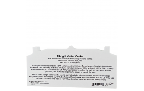 Back Description of Albright Visitor Center, Yellowstone National Park, Wyoming