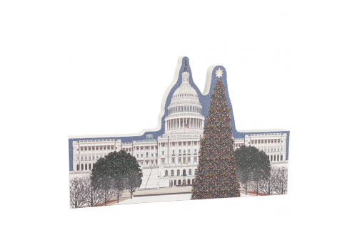 """West view of the US Capitol in Washington DC at Christmastime. Includes glittery accents on the trees. Handcrafted by The Cat's Meow Village from 3/4"""" thick wood in Wooster, Ohio."""