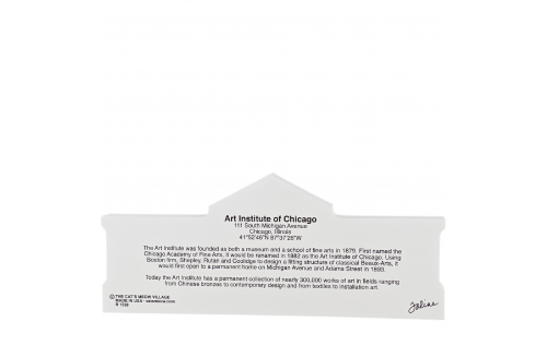 "Back Description of Art Institute of Chicago, Chicago, Illinois. Handcrafted in the USA 3/4"" thick wood by Cat's Meow Village."
