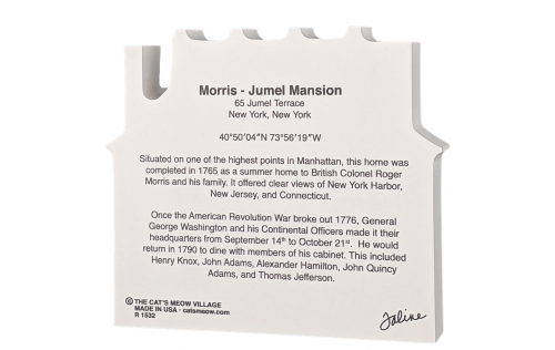 """Back description of the Lovely detailed replica of the Morris Jumel Mansion, New York, New York. Handcrafted in the USA 3/4"""" thick wood by Cat's Meow Village."""