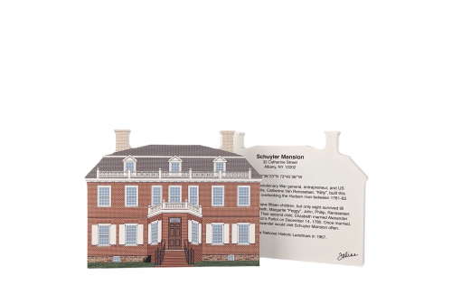 Front & Back of Schuyler Mansion, Albany, New York.  Handcrafted in the USA by Cat's Meow Village.