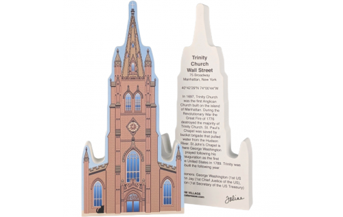 Front & Back of Trinity Church, Wall Street, Manhattan, New York.  Handcrafted in the USA by Cat's Meow Village