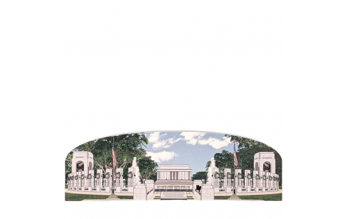 "World War II Memorial, Lincoln Memorial View, Washington DC.  Handcrafted in the USA 3/4"" thick wood by Cat's Meow Village."