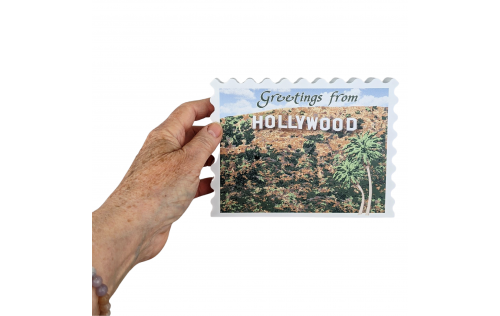 Hollywood Sign Postcard, Los Angeles, California.  Handcrafted by Cat's Meow Village in the USA.