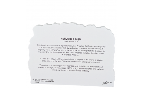 Back description of the Hollywood Sign, Los Angeles, California.  Handcrafted by Cat's Meow Village in the USA.