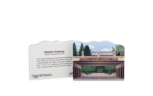Front & Back of Western Gateway, Glacier National Park, Montana.  Handcrafted by Cat's Meow Village in the USA