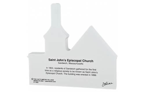 Back Description of Saint John's Episcopal Church, Sandwich, Massachusetts, Cape Cod.  Handcrafted by Cats Meow Village in the USA.