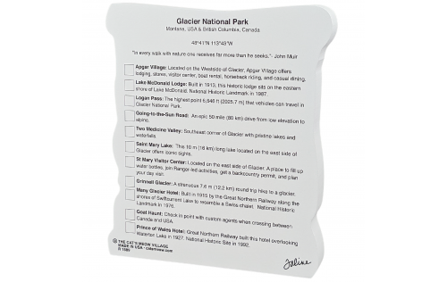 """Back description of Glacier National Park Map, Montana.  Handcrafted in the USA 3/4"""" thick wood by Cat's Meow Village."""