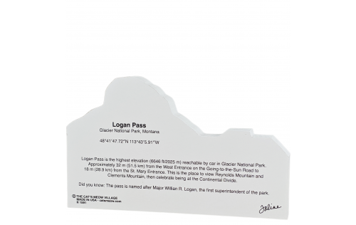 """Back description of Logan Pass, Glacier National Park, Montana. Handcrafted in the USA 3/4"""" thick wood by Cat's Meow Village."""