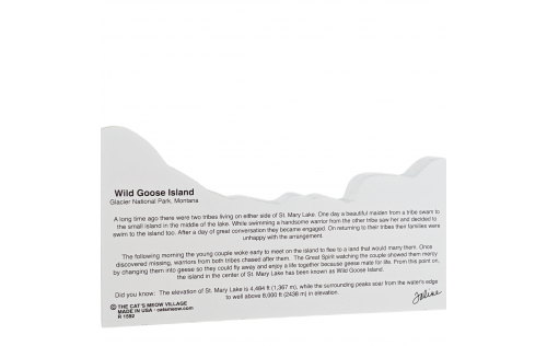 """Back description of Wild Goose Island, Glacier National Park, Montana. Handcrafted in the USA 3/4"""" thick wood by Cat's Meow Village."""