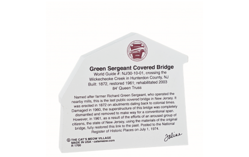 """Back Description of Green Sergeant Covered Bridge, New Jersey. Handcrafted in the USA 3/4"""" thick wood by Cat's Meow Village."""