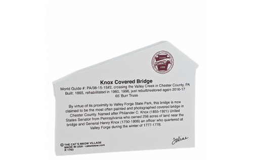 "Back description of Knox Covered Bridge, Pennsylvania. Handcrafted in the USA 3/4"" thick wood by Cat's Meow Village"