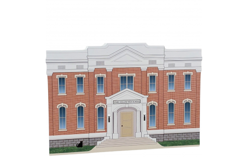 """Stars Hollow High School, Stars Hollow, Gilmore Girls.  Handcrafted in the USA 3/4"""" thick wood by Cat's Meow Village."""