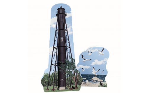 """Finns Point Lighthouse, Pennsville, New Jersey and Seagulls 21-624  Handcrafted in the USA 3/4"""" thick wood by Cat's Meow Village."""
