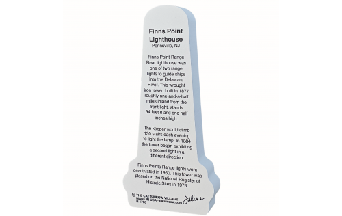 """Back description of Finns Point Lighthouse, Pennsville, New Jersey.  Handcrafted in the USA 3/4"""" thick wood by Cat's Meow Village"""
