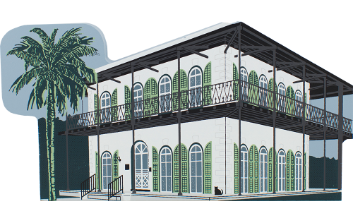 Handcrafted wooden replica of the Hemingway Home & Museum by The Cat's Meow Village