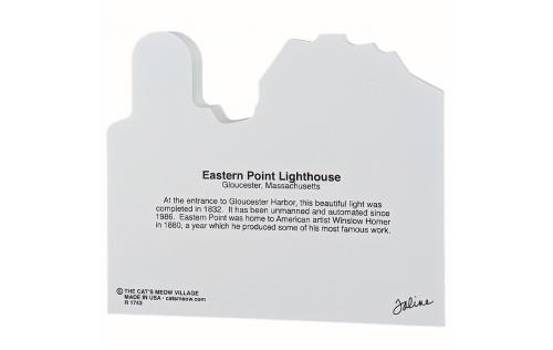 Back of a wooden replica of Eastern Point Lighthouse, Gloucester, Massachusetts handcrafted by The Cat's Meow Village in the USA.
