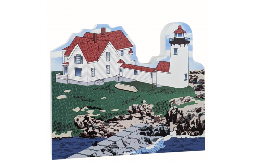 Wooden replica of Eastern Point Lighthouse, Gloucester, Massachusetts handcrafted by The Cat's Meow Village in the USA.
