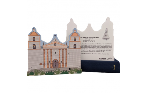 "Front & Back of Mission Santa Barbara, CA. Handcrafted in the USA 3/4"" thick wood by Cat's Meow Village."