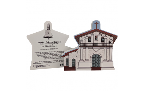 """Front & Back of Mission Dolores San Francisco, California. Handcrafted in the USA 3/4"""" thick wood by Cat's Meow Village."""