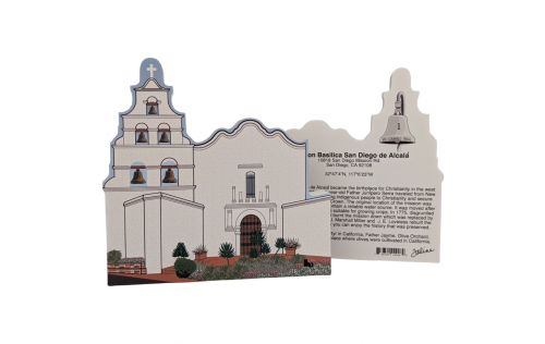 """Front & Back of Mission San Diego De Alcala, California. Handcrafted in the USA 3/4"""" thick wood by Cat's Meow Village."""