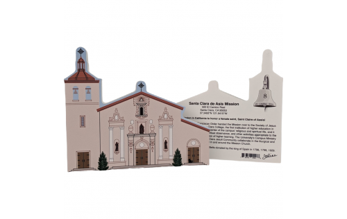"Front & Back of Santa Clara De Asis Mission, Santa Clara, California. Handcrafted in the USA 3/4"" thick wood by Cat's Meow Village."