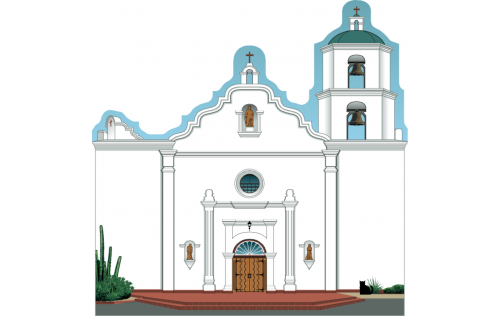 "Mission San Luis Rey, Oceanside, California. Handcrafted in the USA 3/4"" thick wood by Cat's Meow Village."