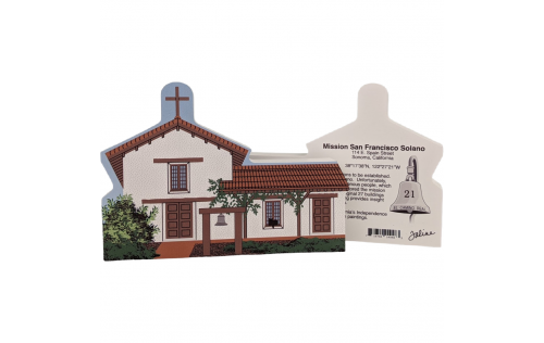 "Front & Back of Mission San Francisco Solano, Sonoma, California. Handcrafted in the USA 3/4"" thick wood by Cat's Meow Village."