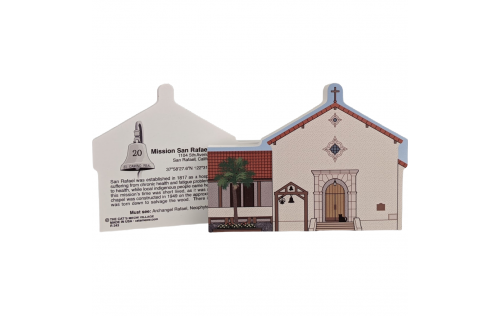 "Front & Back of Mission San Rafael Arcangel, San Rafael, CA. Handcrafted in the USA 3/4"" thick wood by Cat's Meow Village."
