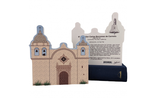 "Front & Back of Mission Carmel, Carmel by the Sea, California. Handcrafted in the USA 3/4"" thick wood by Cat's Meow Village."